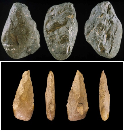 Upper: Photograph of Oldowan 'chopper'. University of California--Berkeley, Dept. of Anthropology Collection Lower: An Acheulean handaxe. Photo credit: Didier Descouens, Wikimedia Commons.