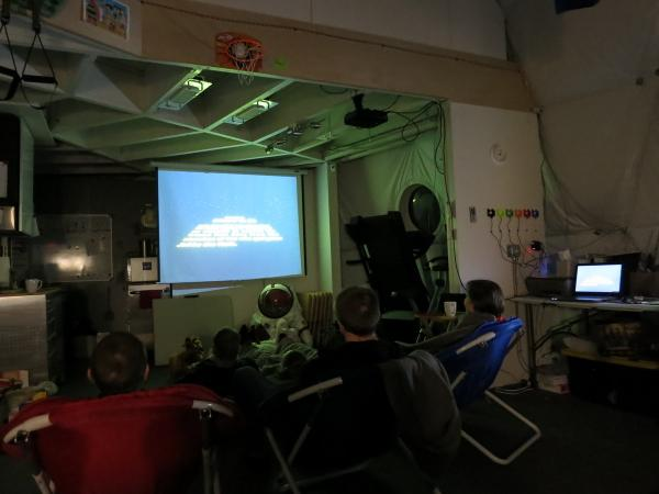 HI-SEAS crew watching Return of the Jedi on 4th May. (Image: HI-SEAS Twitter).