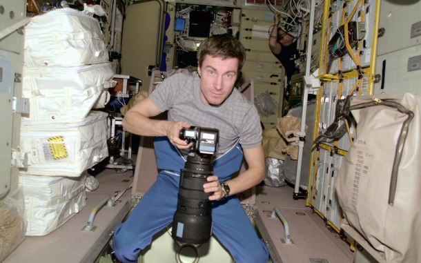 Cosmonaut and time traveller Sergei K. Krikalev aboard the ISS, December 2000. Photo: NASA.