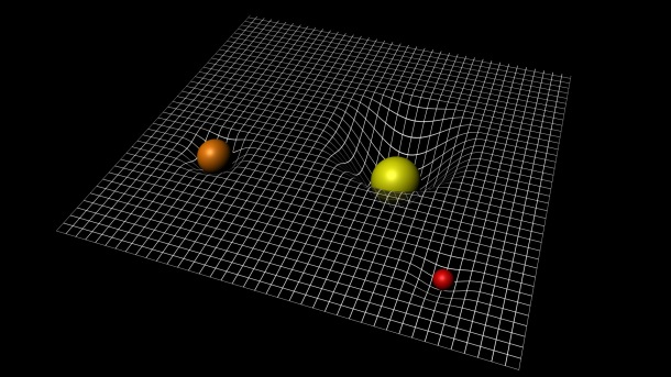 Gravitational wells in the curvature of spacetime. Image: ESA.